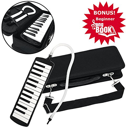 Melodica Complete Set. Air Piano Includes Melodica Song Book. Comes With The Keyboard, Practice Book, Padded Case, Carrying Strap, Blow Tube And Mouthpiece