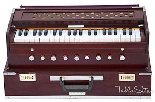 Maharaja Musicals, Folding Harmonium Instrument, In USA, 9 Stops, Rosewood Color, Safri, 3 1/2 Octave, Coupler, Book, Bag, Tuned To A440, Musical Instrument Indian (PDI-AHF)