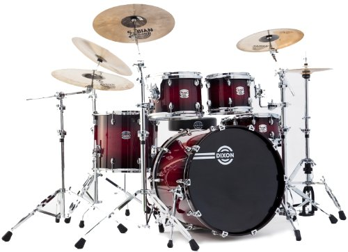 Dixon Blaze PODBZ522STBR 5-Piece Drum Set, Gloss See Through Red Burst