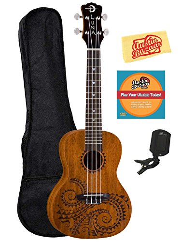 Luna Tattoo Mahogany Concert Ukulele Bundle with Gig Bag, Austin Bazaar Instructional DVD, Clip-On Tuner, and Polishing Cloth