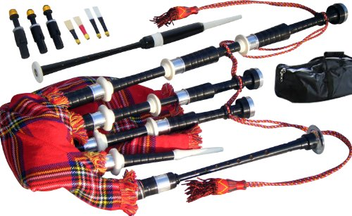 Great Highland Bagpipe, Full Size, Rosewood, Imitation & Nickle Mounts, Tartan, Learn to play Booklet