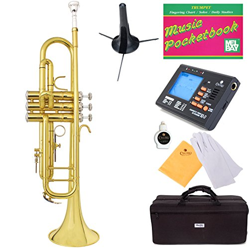 Mendini Double-Braced B-Flat Trumpet with Monel Valves, Yellow Brass + Tuner, Case, Stand, Pocketbook – MTT-30L+SD+PB+92D