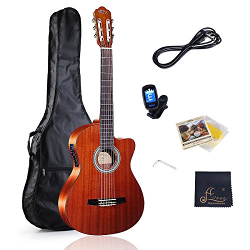 WINZZ Classical Cutaway Acoustic Electric Guitar with Strings, Bag, Cleaning Cloth, Tuner and Cable