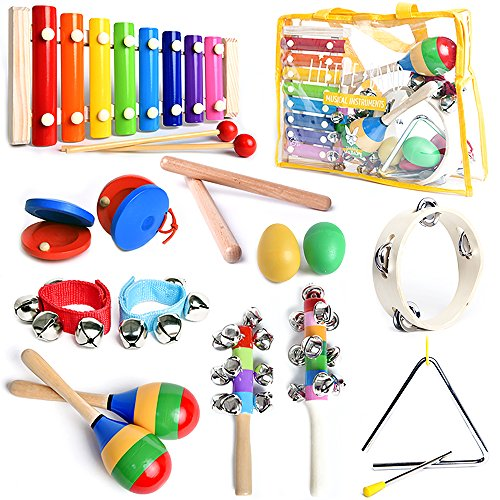 Musical Instruments Set with Xylophone for Kids – 15 Pcs. Percussion Set , FREE bonus musical games eBook, Free Carrying Bag