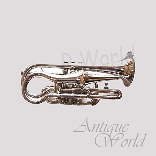 Antiques World Silver Finish Trumpet Pocket Cornet Bb Very Rare Re-Creation AWUSAMI 0103