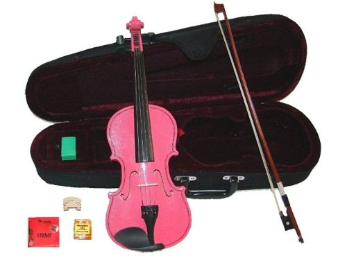 GRACE 12 inch Pink Student Viola with Case, Bow+2 Sets Strings+2 Bridges+Pitch Pipe+Rosin