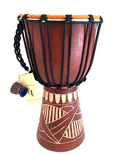 Djembe Drum Bongo Congo African Solid Wood Drum – MED SIZE- 12″, JIVE FEDERAL (TM) BRAND, Professional Premium Quality / Includes Drum Key Chain