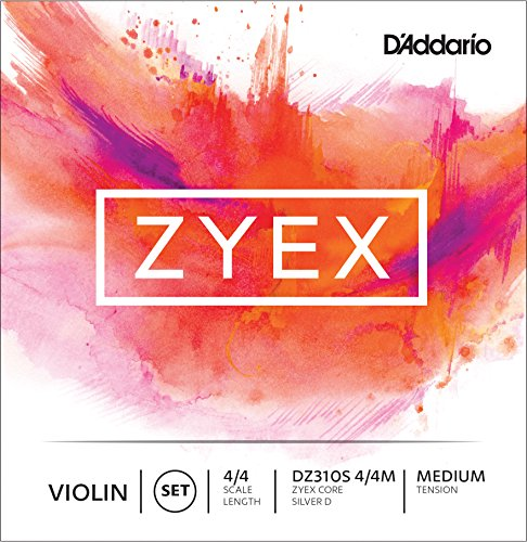D'Addario Zyex Violin String Set, 4/4 Scale, Silver D Medium Tension