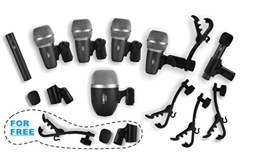 Wired Drum Microphone Kit for Drum and Other Musical Instruments (Black)