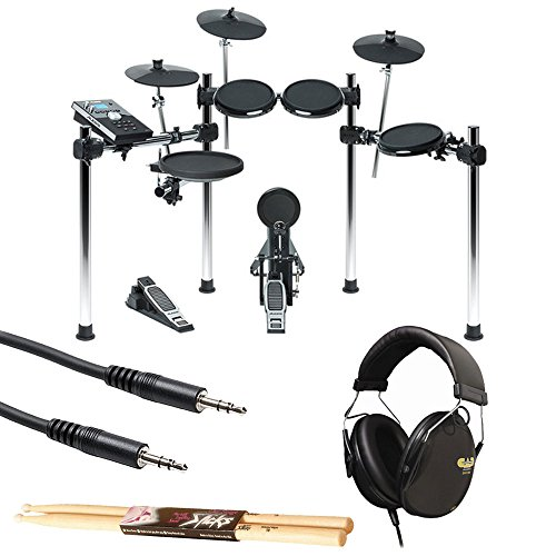Alesis Forge 8-Piece Electronic Drum Kit with Module + CAD Audio DH100 Drummer Isolation Headphones + TRS Stereo Interconnect Cable + On Stage Maple Wood 5B (1 Pair) Of Drumsticks – Accessory Bundle