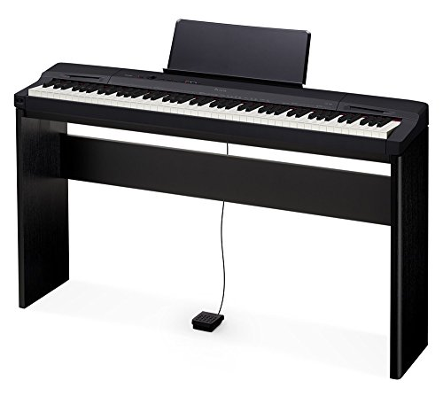 Casio PX160BK 88-Key Touch Sensitive Privia Digital Piano with Tri-Sensor Scaled Hammer Action in Black with Stand and Pedal