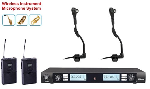 Boly UHF Dual Wireless Instrument Microphone for Horn Saxophones Trumpet Tuba Drum