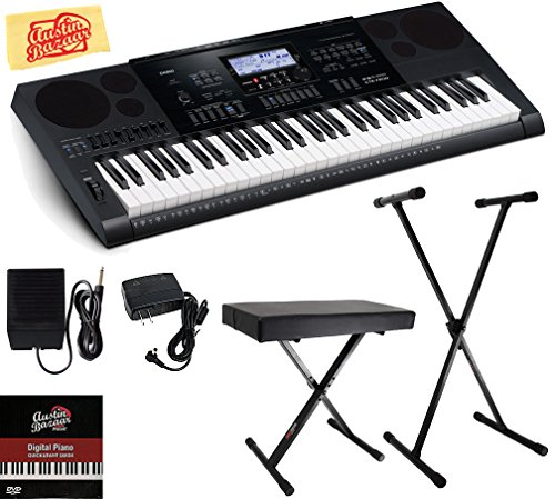 Casio CTK-7200 Portable Keyboard Bundle with Stand, Bench, Sustain Pedal, Power Supply, Austin Bazaar Instructional DVD, and Polishing Cloth