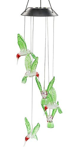 Color-Changing LED Solar Mobile Wind Chimes, PGCOKO Hanging Waterproof Six Hummingbird Solar Powered LED Light Wind Chimes for Outdoor Indoor Home yard Garden Decoration