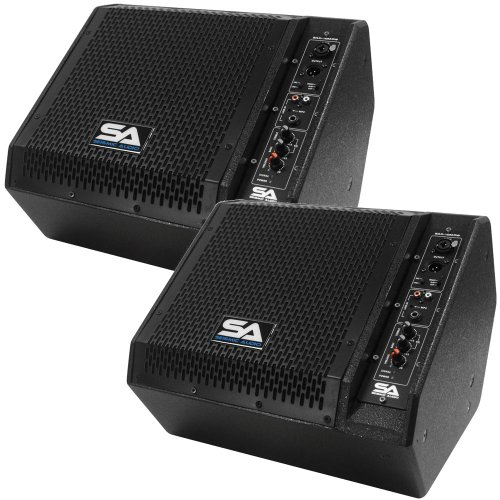 Seismic Audio – SAX-10M-PW-Pair – Pair of Powered Compact 10 Inch 2 Way Coaxial Floor / Stage Monitors with Titanium Horns – 200 Watts RMS – PA/DJ Stage, Studio, Live Sound