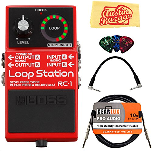 Boss RC-1 Loop Station Guitar Effects Pedal Bundle with Gearlux Instrument Cable, Patch Cable, Picks, and Polishing Cloth
