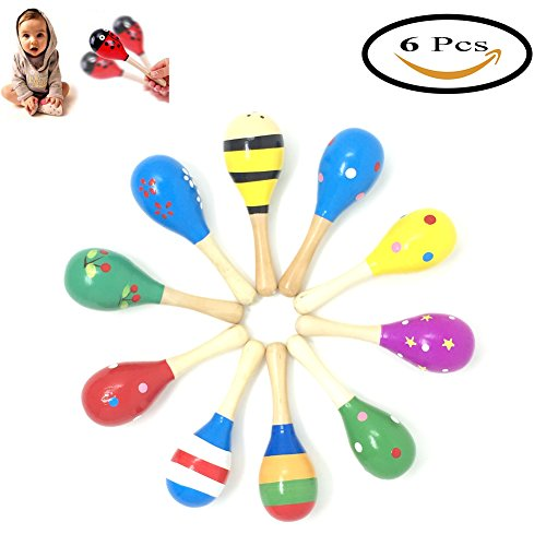 Pack fo 6 Wooden Maracas Wood Rattles Perfect for Starting Percussionist and Kid Baby Shaker Sand Hammer Toy, Random Color Pattern