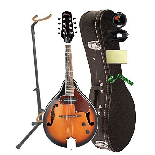 Ibanez M510EBS A-Style Spruce Top Mandolin in Brown Sunburst High Gloss With Case, Mini Stand, Tuner, Pegwinders, and Polishing Cloth