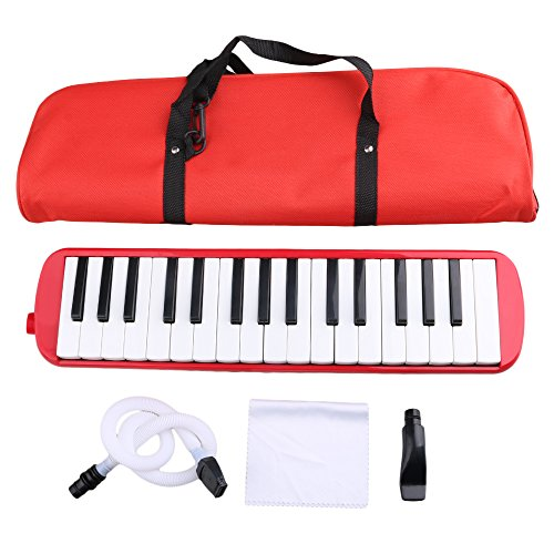 BQLZR Red Portable 32 Note Piano Keys Melodica with Carrying Bag for Beginners Musical Fans