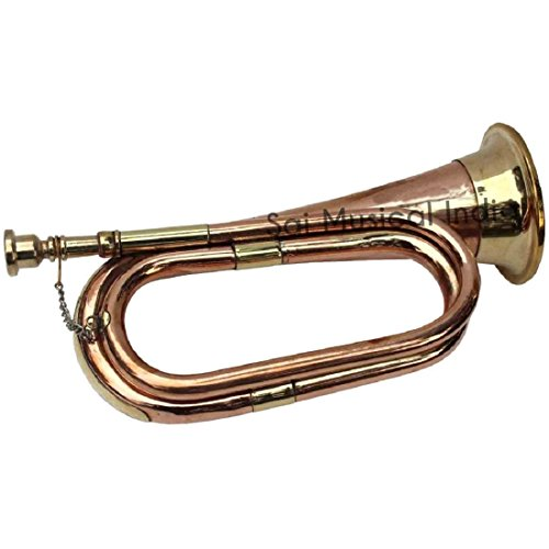 Queen Brass Bugle Copper and Brass for Parade Good Decor with Cord Rope Tassel