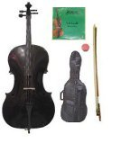 GRACE 1/4 Size Black Cello with Bag and Bow+Rosin+Extra Set of Strings