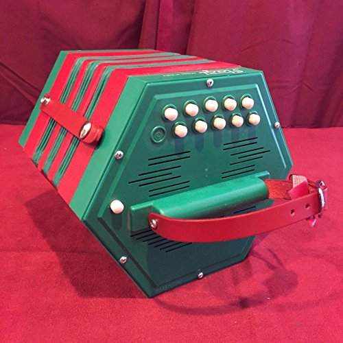 New Stagi La Concertina Anglo PL 4-2 Green Red C G M 20 Button Made In Italy