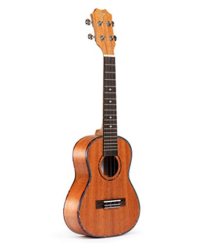 TOM Soprano Ukulele TUS-200 has African Mahogany Top with Gig Bag, Spare Aquila Strings, Tuner, Pick and Belt – 21inch