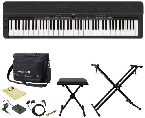 Yamaha P255B Contemporary Digital Piano with Earbuds, Pedal, Polish Cloth, ChromaCast Bench, Stand, and Musicians Gear Bag