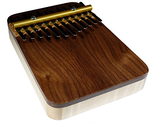 Zither Heaven Artisan Curly Maple 12 Note Thumb Piano with Black Walnut Top