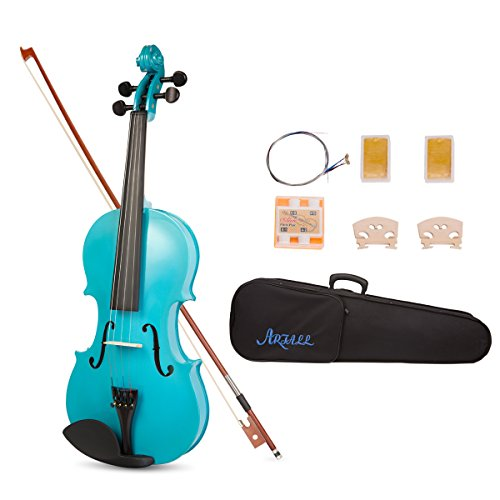 Artall 4/4 Full Size Handcrafted Acoustic Violin Starter Kit with Hard Case, Bow & Accessories, Glossy Blue