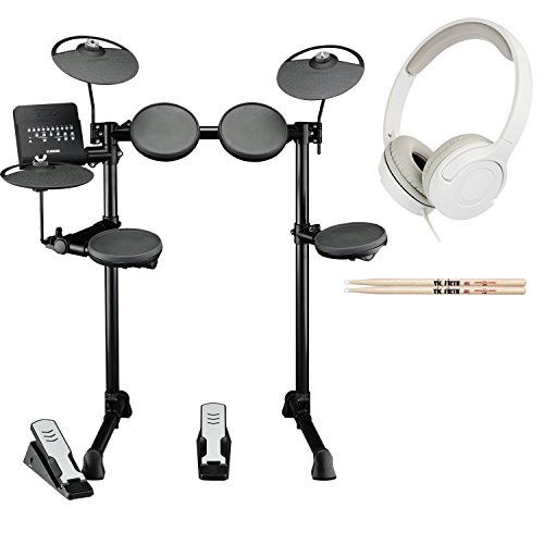 Yamaha DTX400K Customizable Electronic Drum Set Bundled with Vic Firth 5A Drumsticks and Stereo Headphones