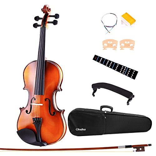 Ohuhu 4/4 Solid Wood Satin Antique Violin with Hard Case, Shoulder Rest, Bow, Rosin,Extra Strings
