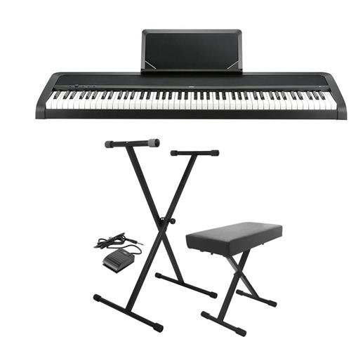 Korg B1 88 Key Digital Piano with Enhanced Speaker System & Hammer Action – Black – With On-Stage KPK6520 Keyboard Stand/Bench Pack with Sustain Pedal