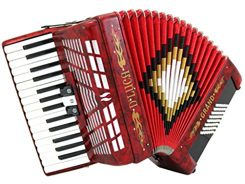 D'Luca D3048-RD Grand Piano Accordion 3 Switches 30 Keys 48 Bass with Case and Straps, Red
