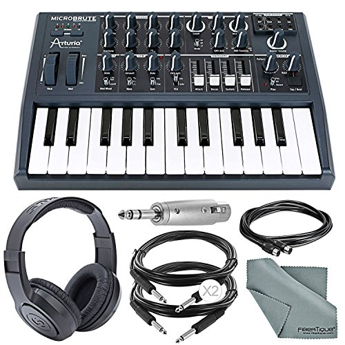 Arturia Microbrute 25-Note Mini Keyboard Analog Synthesizer and Accessory Bundle w/ Stereo Headphones + Adapter + Cables