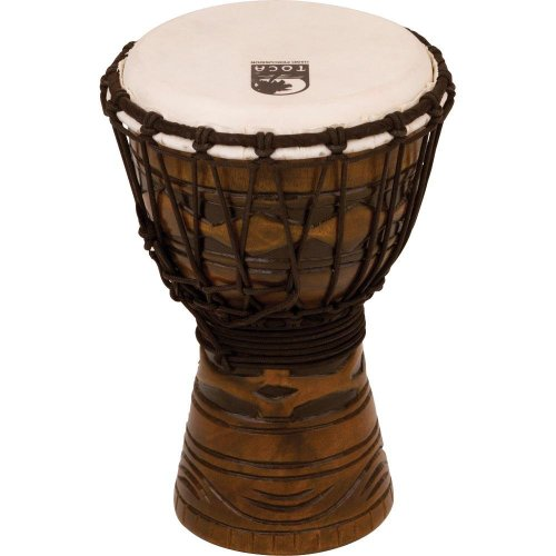 Toca TODJ-7AM Origins Series Rope Tuned Wood 7-Inch Djembe – African Mask Finish