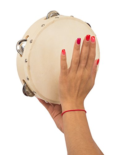 Hand Held Tambourine – 8 inches in Diameter, Drum with Metal Jingles – Percussion Musical Instrument – Educational Toy