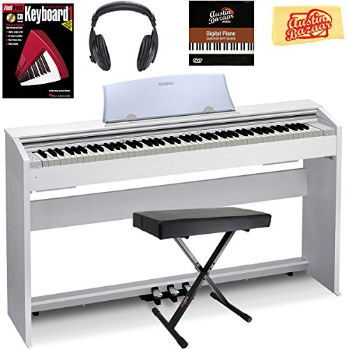 Casio Privia PX-770 Digital Piano – White Bundle with Adjustable Bench, Headphones, Instructional Book, Austin Bazaar Instructional DVD, and Polishing Cloth