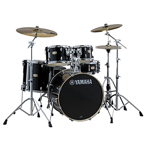 Yamaha Stage Custom Birch 22″ Kick 5-Piece Shell Pack in Raven Black Finish With Zildjian Vic Firth American Classic 5A Drum Sticks, Fast Track Drum Learning Book and CD Pack And Instrument Cloth