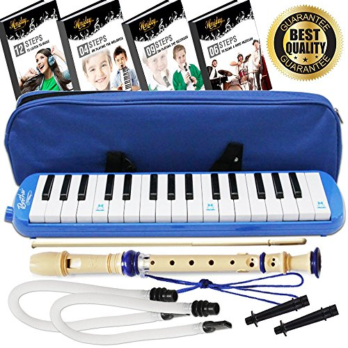 Melodica Keyboard Wind Instrument with Mouthpiece (32-Keys) Beginners Learn to Play Music, Sounds, Songs | Includes Training Ebooks and Soprano Recorder (Blue)