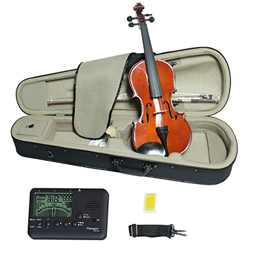 Violin 4/4 Full Size, Solid Wood Satin Antique Violin with Hard Case, Bow, Rosin – Size 4/4