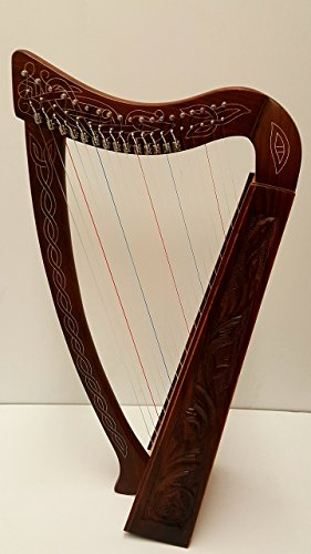 Plain Celtic Harp Rose 19 string Irish Style with Bag & Extra strings & key included