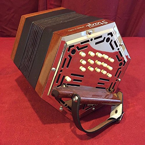 NEW Stagi W-15 Wood Chrome Anglo Concertina M 30 Button Made in Italy