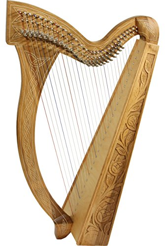 Roosebeck 29-String Minstrel Harp Irish Celtic Style – Solid Walnut