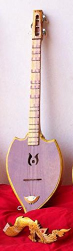 Isarn Acoustic Phin 3 Strings, Thai Lao Guitar Musical Instrument, Jackfruit Wood Traditional Thai Musical Pin 05