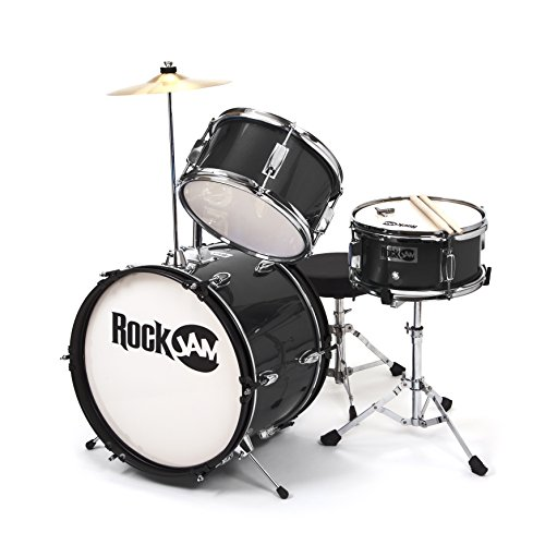 RockJam RJ103-BK 3-Piece Junior Drum Set with Crash Cymbal, Adjustable Throne & Accessories, Black