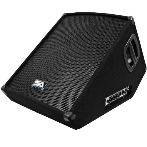 Seismic Audio – SA-15MT-PW – Powered 2-Way 15″ Floor / Stage Monitor Wedge Style with Titanium Horn – 350 Watts RMS – PA/DJ Stage, Studio, Live Sound Active 15 Inch Monitor