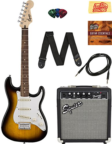 Squier by Fender Stratocaster Pack with Frontman 10G Amp, Cable, Strap, Picks, and Online Lessons – Brown Sunburst Bundle with Austin Bazaar Instructional DVD