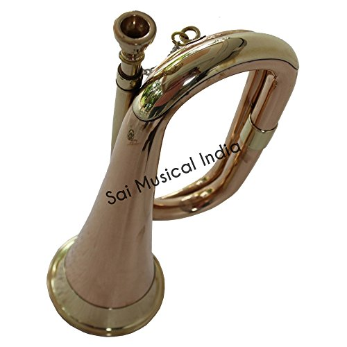 Queen Brass Cavalry US British Army Bugle Made Of Solid Brass and Copper Carved With Style MI 04