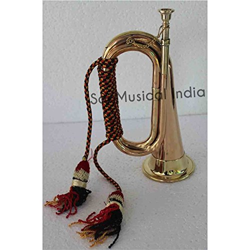 Queen Brass Solid Brass and Copper Blowing Bugle Attack War Command Boy Scout Signal Horn 10.6″ Inch with Colourful Rope Binding MI 03